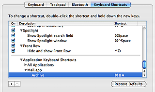 Mail.app Keyboard Shortcut