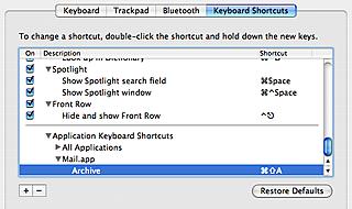Mail.app Keyboard Shortcut